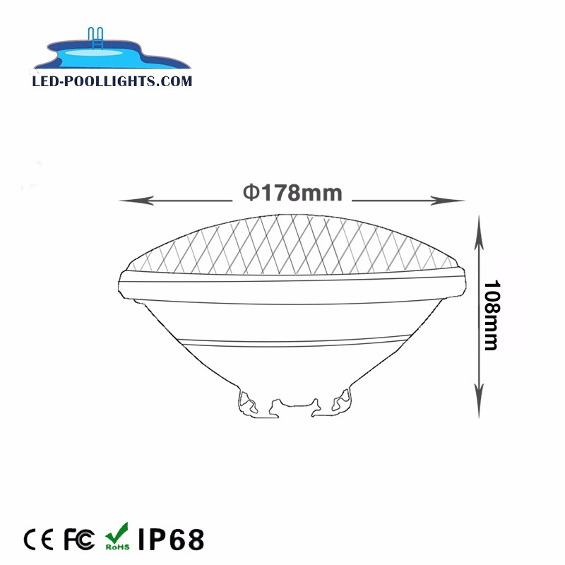 Thick Glass Led Par56 Pool Light Replacement Ip68 100%
