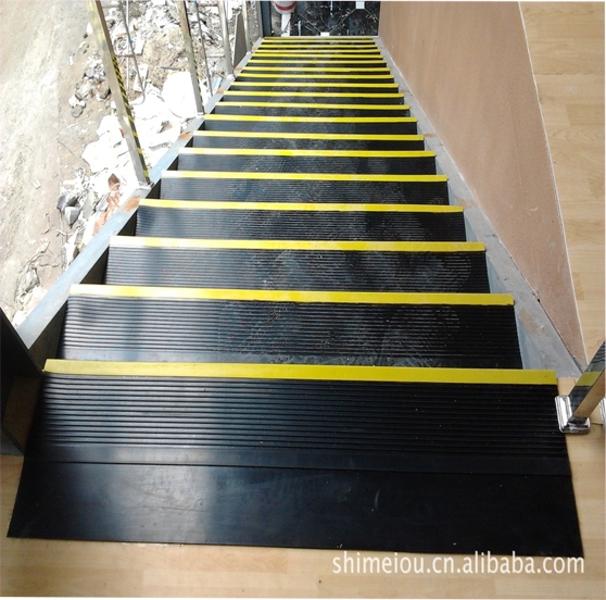 Outdoor Anti Slip Stair Treads | Outdoor Rubber Stair Treads | Outside | Metal Tray | Rectangular Cord Treads | Clear Rubber | Heavy Duty