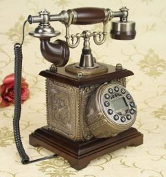 wenbo home antique telephone european retro vintage old wooden american pastoral home phone landline  [ 1019 x 1024 Pixel ]
