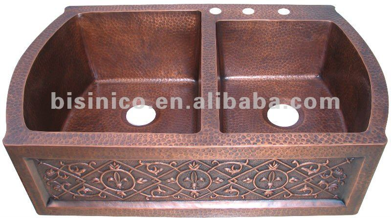 copper sink kitchen ashley furniture table custom double sinks basin farmhouse handmade b270286
