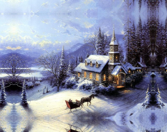 famous christmas scenery oil
