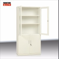 Glass 2 Door Filing Cabinet With Drawer Metal Storage ...