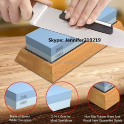Kitchen Knife Sharpening Stone Cart On Sale Best Water With Non Slip Bamboo Base Angle Guide