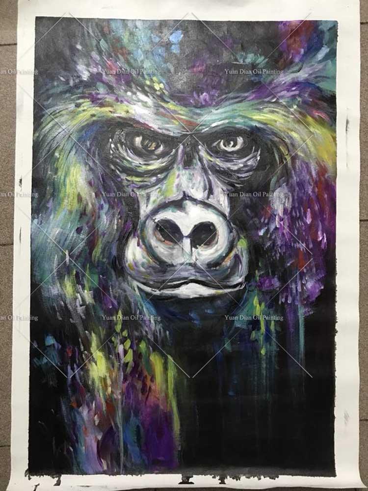 Декоративные Книги по искусству ручной работы Обезьяна картина маслом на  холсте Гостиная Домашний Декор стены Картины мышление орангутанг. 72b1080b129