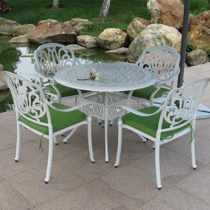 Outdoor patio blanco redondo mesa comedor y sillas muebles