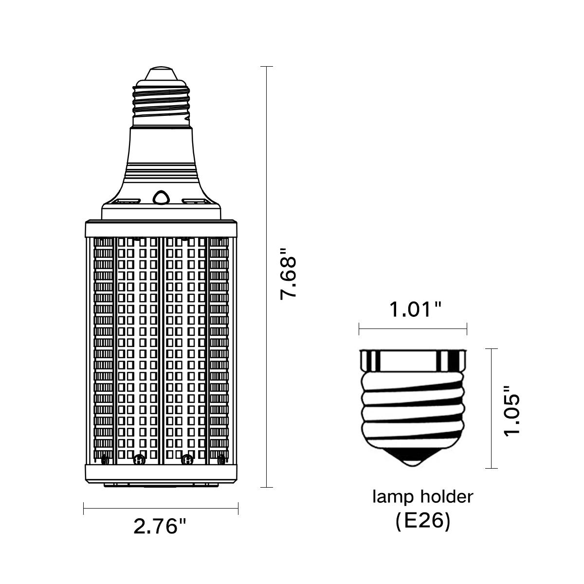 High Efficiency 150lm W Led Bulb 50w Lamps Corn Highbay