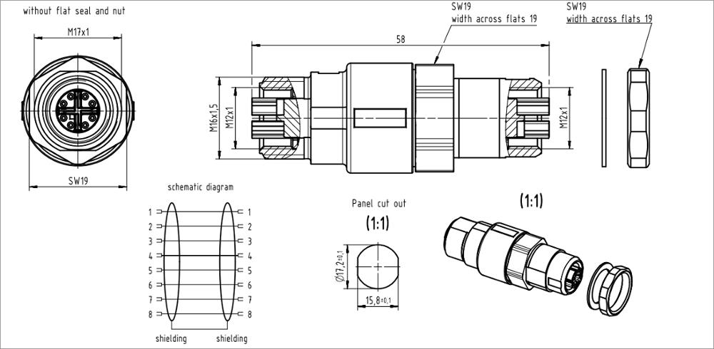 Harting Connector Circular X Coding M12 8 Pin For Camera