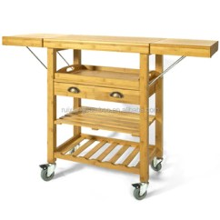Folding Kitchen Cart Hotel With Hong Kong Eco Friendly Bamboo Wooden Trolley Drawers Shelf Buy