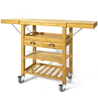 folding kitchen cart jacksonville outdoor kitchens eco friendly bamboo wooden trolley with drawers shelf buy
