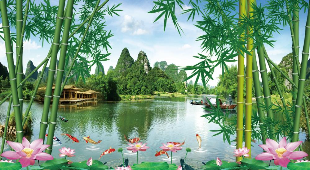 3d Landscape Wallpaper Bamboo Forests Lotus Pond Murals