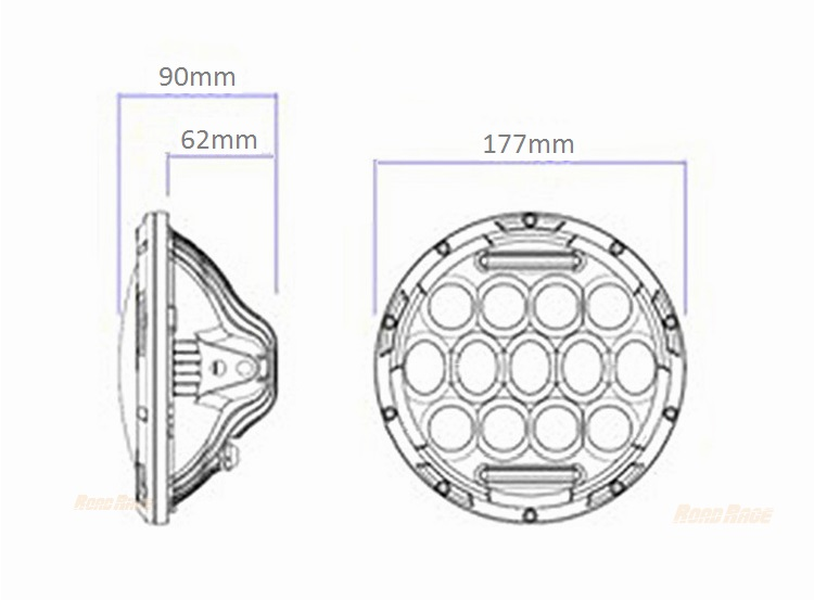 75w Driving Light 12v 7 Inch Round Led Headlight High Low
