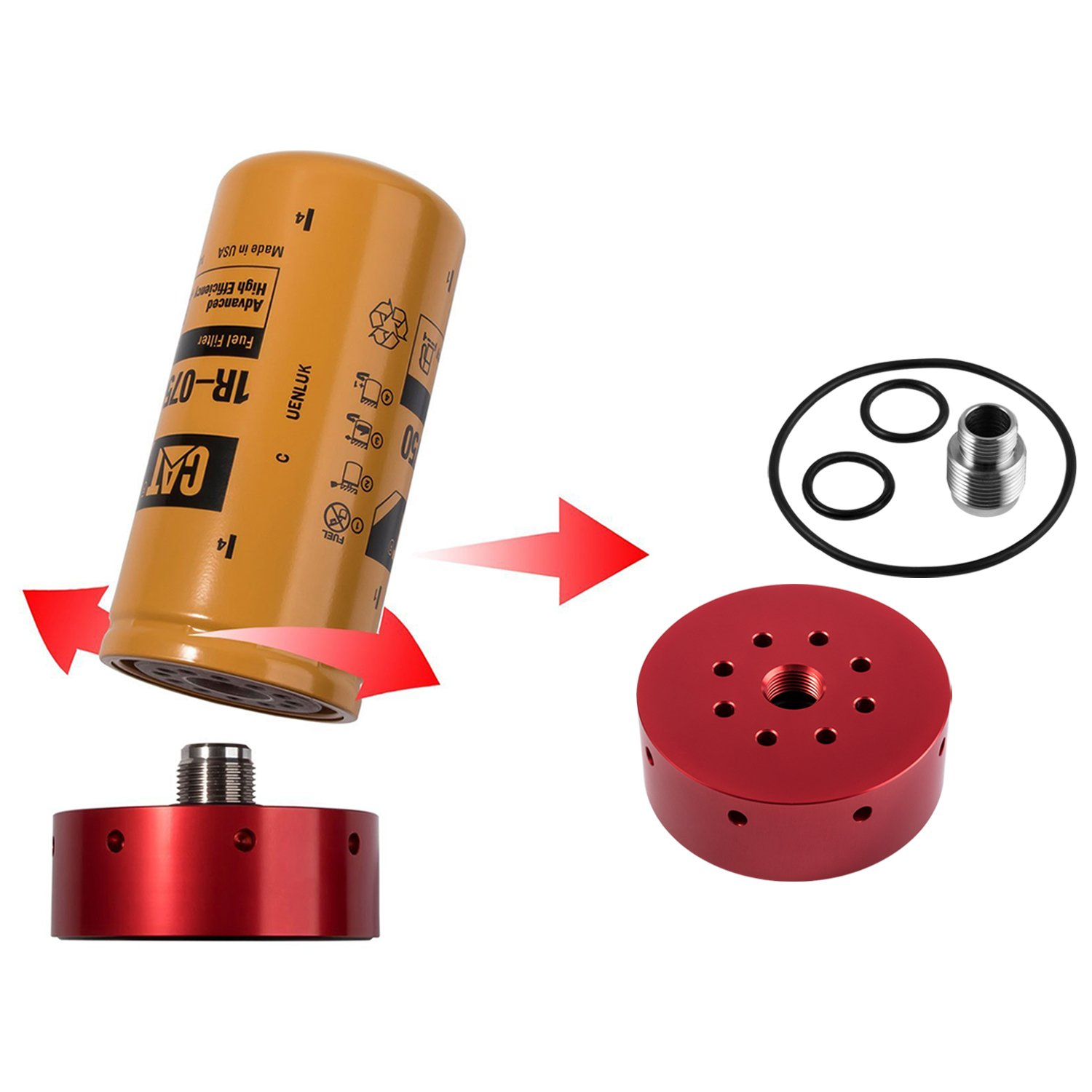 hight resolution of get quotations opall cat fuel filter adapter for chevy gmc duramax diesel 2001 2002 2003 2004 2005