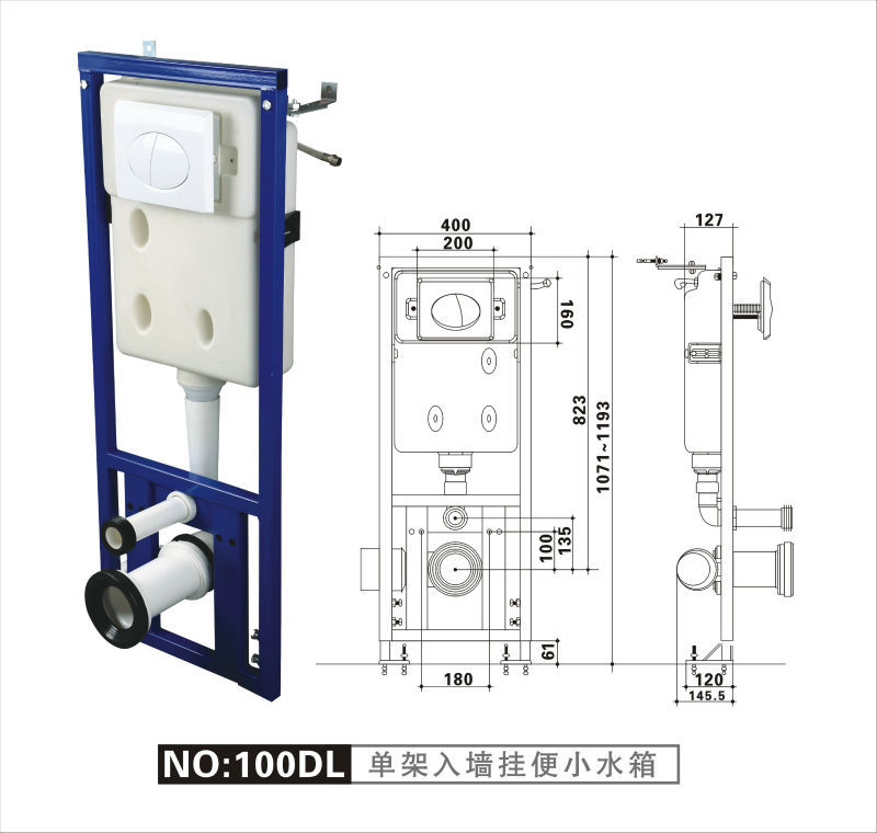 Apply On Wall Hung Toilet Plastic Wc Concealed Water Tank