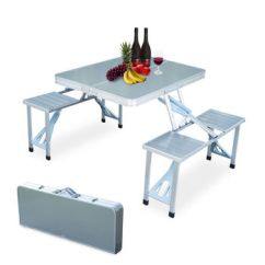 Foldable Table And Chairs Garden Walmart Portable Aluminum Folding Set Outdoor Picnic Party Dining Camping For 4 Person