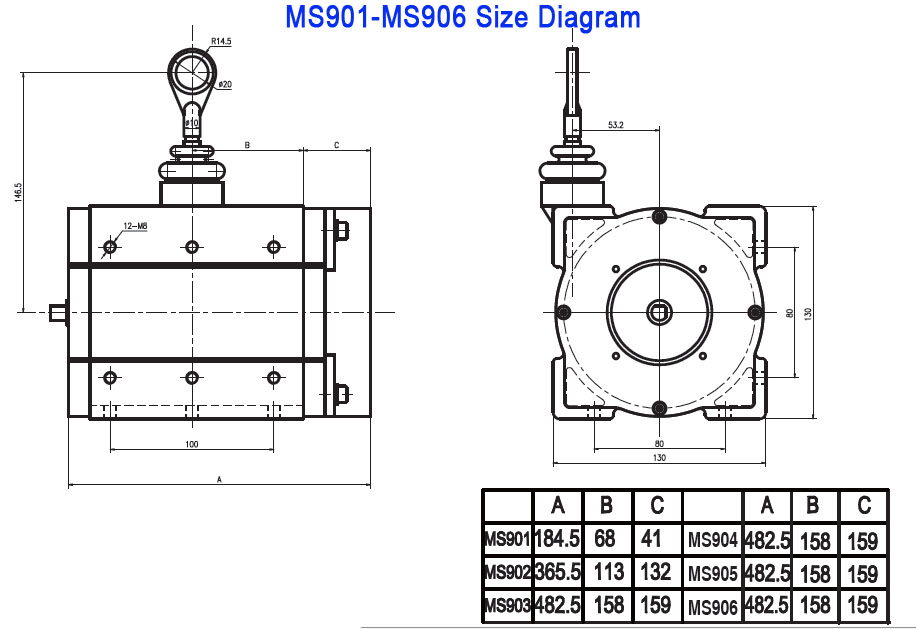 Wire Rope Sensor Ms901-10000-v10 Measuring Stroke 10m Wire