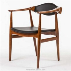 Dining Chair With Armrest Senior Potty Pu Leather Seat Armchair Wegner Stylish Wood Living Room