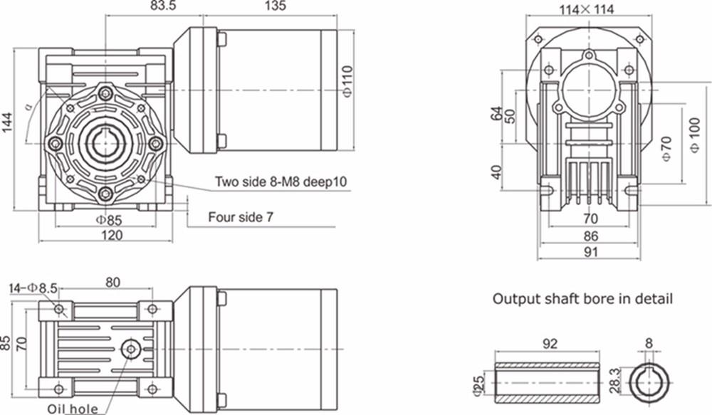 380v 110mm Low Vibration Low Noise Electric Mini Worm Gear