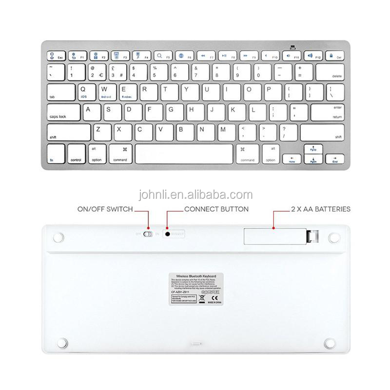 Slim Portable Wireless Keyboard Bt 3.0 Chiclet Keys White