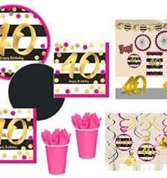 fakkos design 40th birthday decorations and party supplies in pink gold black foil for 24 guests includes plates cups napkins deluxe decorations kit [ 1298 x 1001 Pixel ]