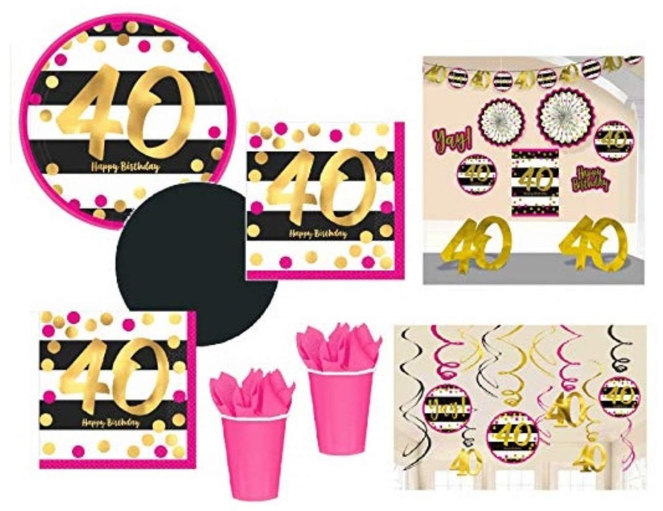 hight resolution of fakkos design 40th birthday decorations and party supplies in pink gold black foil for 24 guests includes plates cups napkins deluxe decorations kit