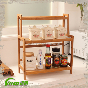 kitchen counter rack table set with bench wood spice countertop stand organizer buy wooden product on