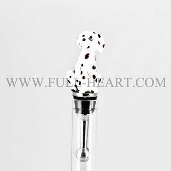 Handcrafted Glass Wine Bottle Stopper Dalmatian Dog Design