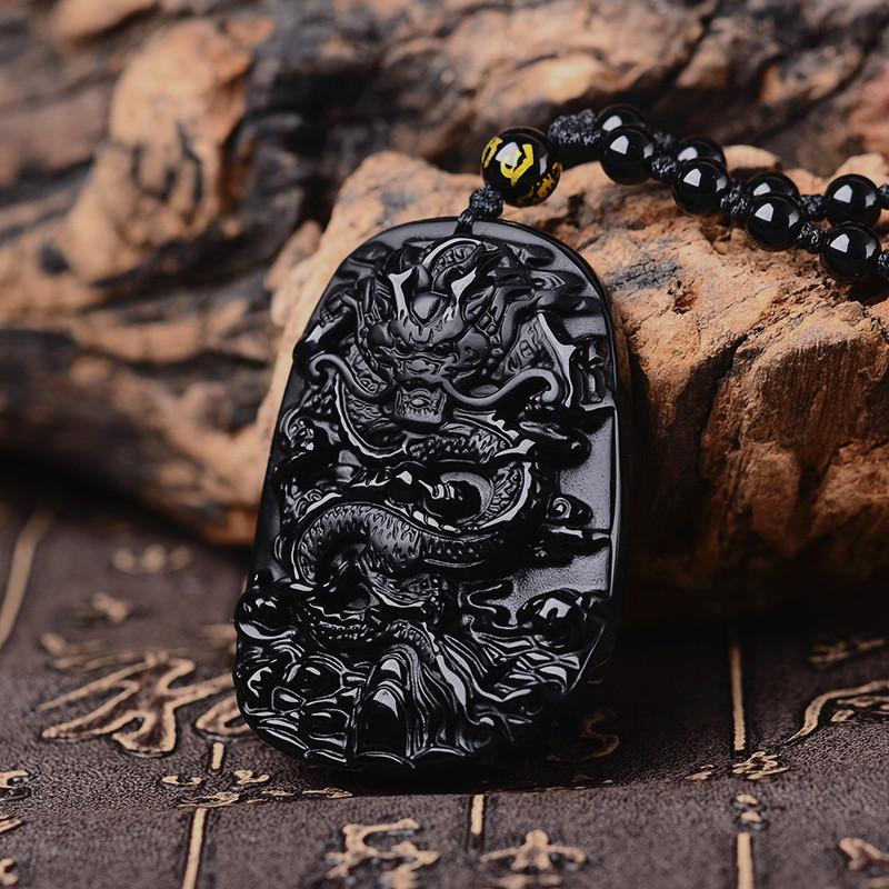 HTB15ffabAfb uJkSnfoq6z epXab QIANXU Drop Shipping Black Obsidian Dragon Necklace Pendant Jade Pendant Jewelry Fine Jewelry