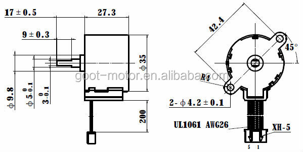 12v 35byj412b Stepper Gear Motor With Reduction Ratio 1/42