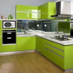 Aluminum Kitchen Cabinets Arhaus Table Modern High Gloss Green Pantry Cupboard Cabinet