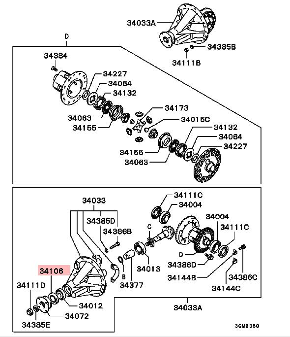 Diferencial Piñón Sello De Aceite Para Mitsubishi L200