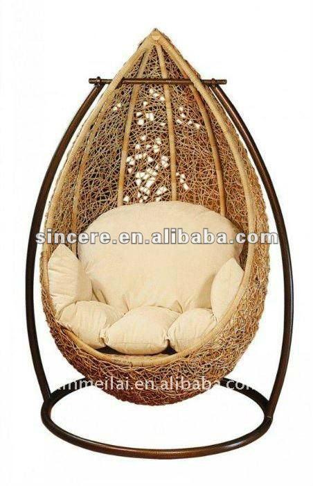 Rattan huevo silla colganteColumpios de patio