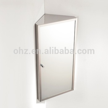 Wall Hanging Stainless Steel Small Corner Mirror Cabinet