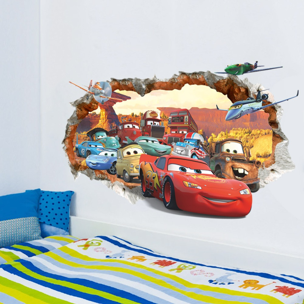 M841 Yellow Cartoon Car Boys Kids Wall Stickers Bedroom Girls Boys Kids Room Home Living Wall Decor Delage Com Br