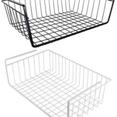 Kitchen Wire Storage Stainless Steel Shelf Under Sliding Organizer Basket For Cabinets Wardrobe Hanging
