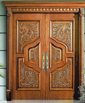 American Style Deluxe Antique Double Wood Door Cnc Carved
