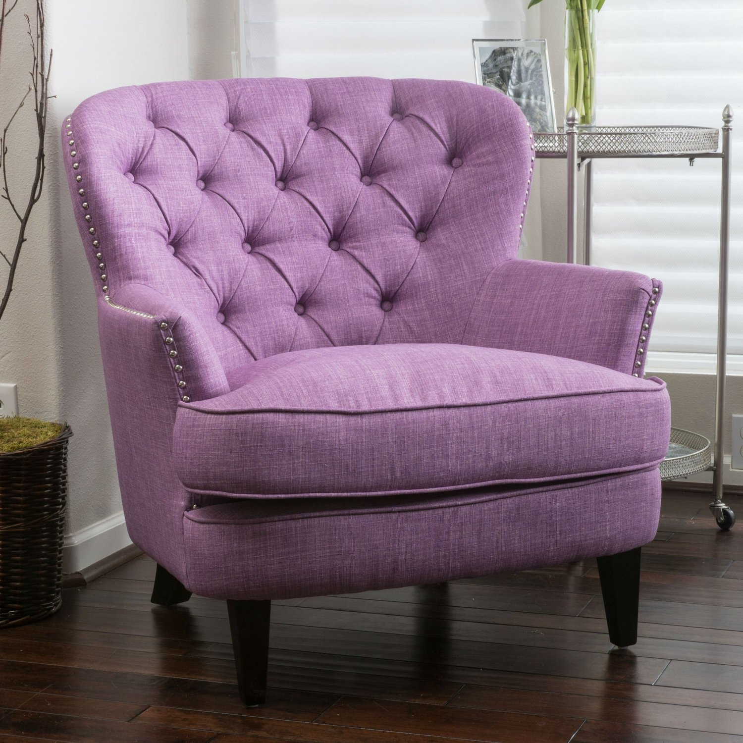 bedroom club chair abode fishing review buy this high back is a modern living room must features purple upholstered