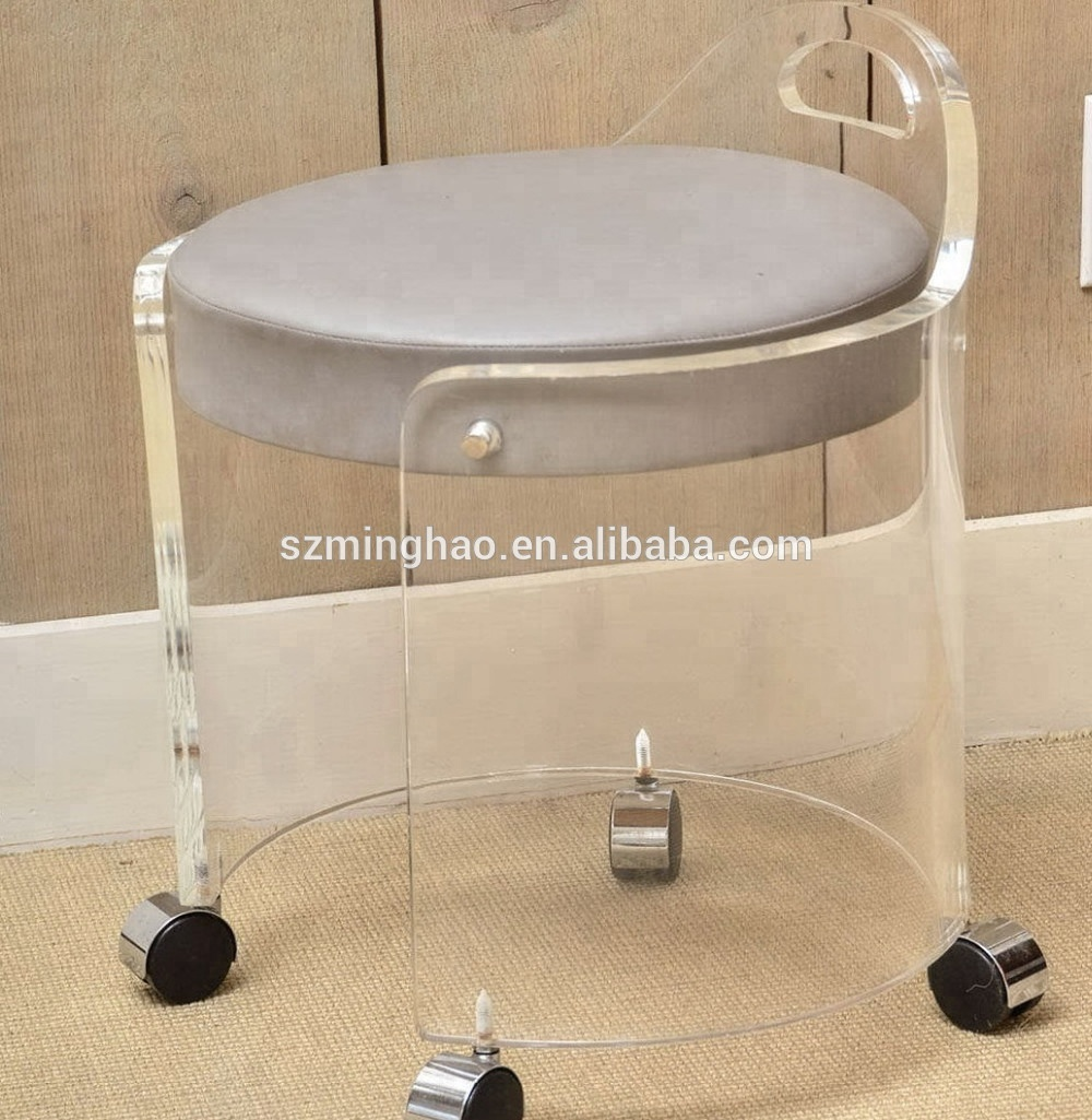 Clear Vanity Chair Clear Acrylic Vanity Stools Acrylic Living Chairs Buy Acrylic Chairs Clear Stool Wheel Chair Product On Alibaba