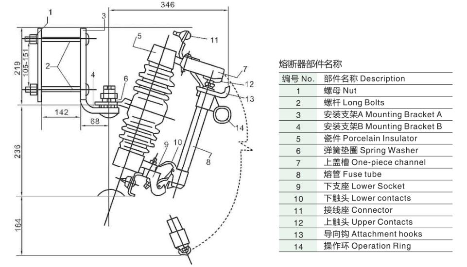 12kv 11kv Fuse Drop Out Fuse Cutout Pole Line Equipment