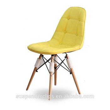 yellow upholstered dining chairs power wheelchair accessories bags genuine leather with wooden legs