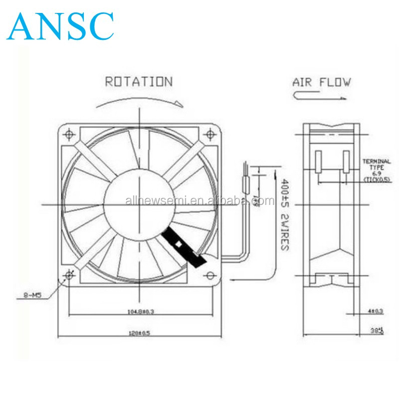 12038 Ac Cooler Fan 220v Motor 120x120x38mm 120mm