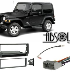 get quotations absolute radiokitpkg16 fits jeep wrangler 2003 2006 single din stereo harness radio install dash kit [ 1500 x 1159 Pixel ]