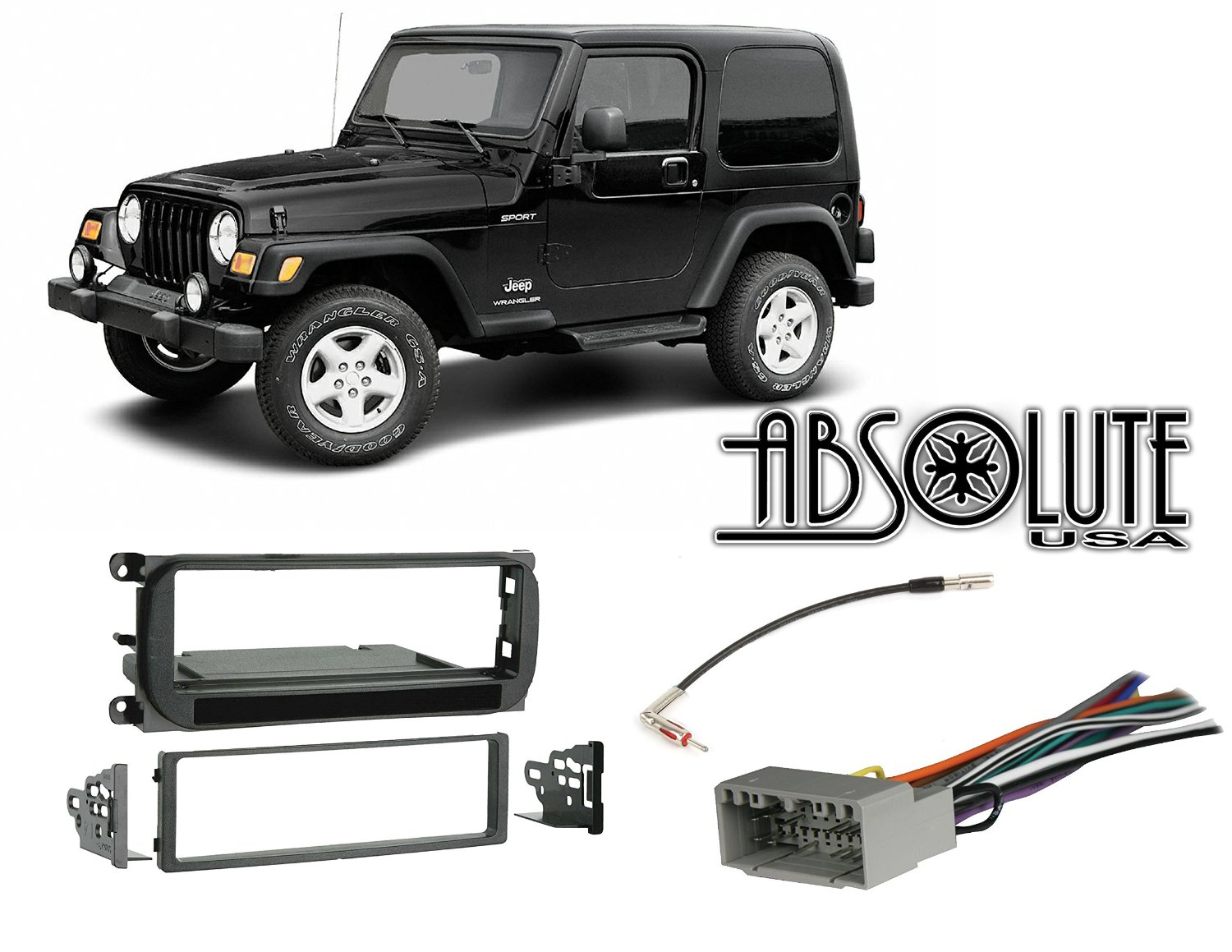 hight resolution of get quotations absolute radiokitpkg16 fits jeep wrangler 2003 2006 single din stereo harness radio install dash kit