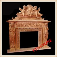 Angel Statues Fireplace Mantel
