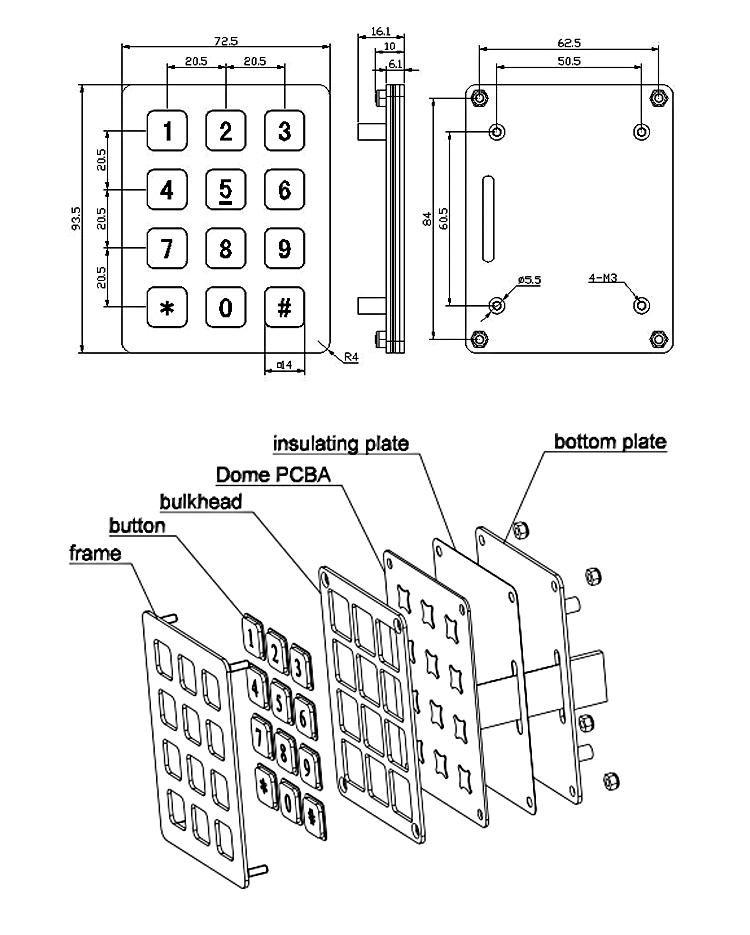 3x4 Numeric Metal Electronic Keypad For Fuel Dispenser
