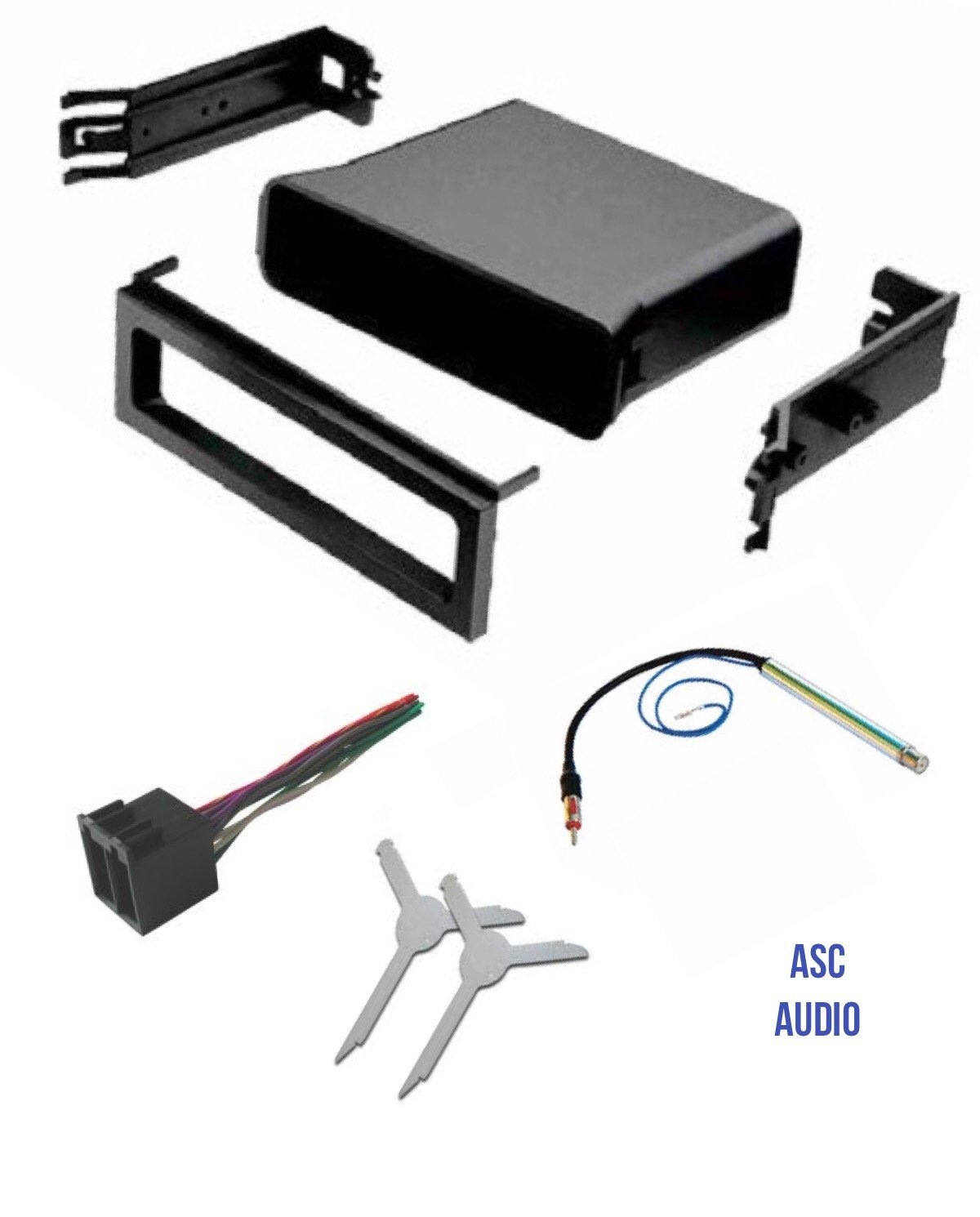 hight resolution of get quotations asc audio car stereo dash pocket kit wire harness antenna adapter and radio