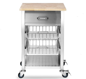 stainless steel kitchen cart faucet sprayer trolley with wheels and wooden top buy