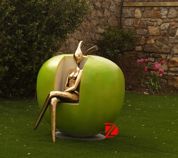 Bronze Abstract Lady Sitting In Apple Chair Sculptures In