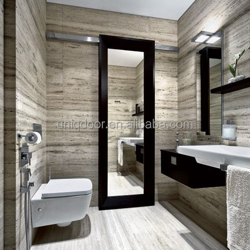 Modern Mirrored One Side Glass Barn Doors For Bathroom