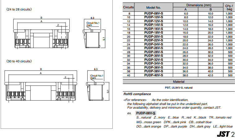 Jst 2.0mm Pitch Pud Series 20 Pin Housing Connector Pudp