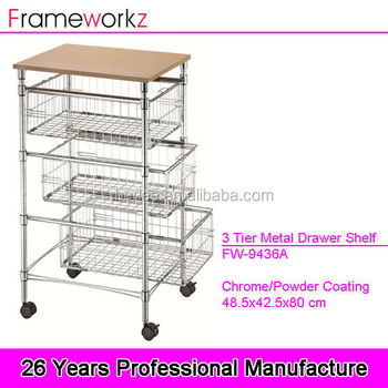 kitchen wire storage mobile island with seating 3 tier metal drawer shelf rack vegetable rac